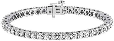 La4ve Diamonds 1 00 Carat Real Diamond Circle Link Tennis Bracelet J I3 Rhodium Plated Over product image