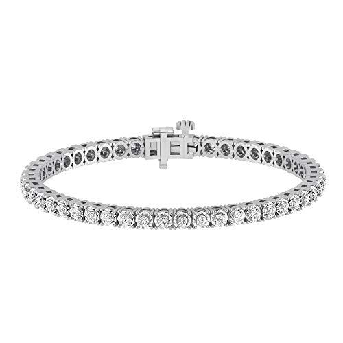 La4ve Diamonds 1.00 Carat Real Diamond Circle Link Tennis Bracelet (J, I3) Rhodium Plated Over Sterling Silver Illusion Set Miracle Plate Wedding Fashion Jewelry (White, Yellow, Rose Gold Tone)
