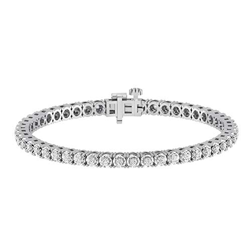 La4ve Diamonds 1.00 Carat Real Diamond Circle Link Tennis Bracelet (J, I3) Rhodium Plated Over Sterling Silver Illusion Set Miracle Plate Wedding Fashion Jewelry (White, Yellow, Rose Gold Tone)