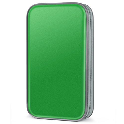CD Tasche,COOFIT 80 CD/DVD Tasche DVD Lagerung DVD Case VCD Wallets Speicher Organizer Hard Plastik Schutz DVD Lagerung (Green)