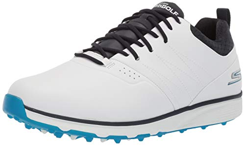 Skechers Men's Mojo Waterproof Golf Shoe, White/Blue, 9 W US