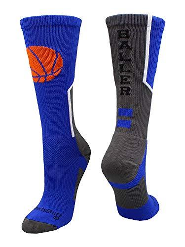 MadSportsStuff Baller Basketball Logo Crew Socks (Royal/White, Medium)
