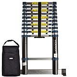 WORHAN® 3.2m (10' 5'') Single Telescopic Extendable Multipurpose Aluminium Ladder with Stabilizer Robust Step Ladder (.3.2m A-line & Bag) 1K3.2A+Bag