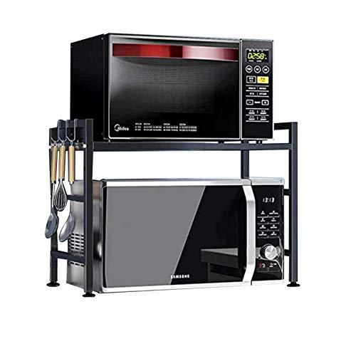 Küchenwagen YANFEI - Rejilla Extensible para Horno Microondas 2 Niveles, Organizador Estante Almacenamiento Mostrador Cocina, Soporte Carga 30 kg, Acero Carbono Negro