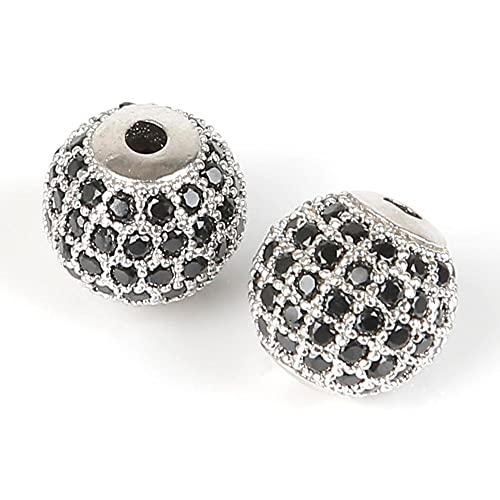 sdfpj Cobre Micro Pave Zircon Crystal Geometry Crowne Leopard Casco Skull Suelte Spacer Beads para la fabricación de Joyas Bricolaje Pulsera de los Hombres (Color : Silver)