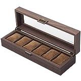 Uhrenkasten/Uhrenbox/Uhrenschachtel/Uhrenschatulle/Uhren Aufbewahrung/Uhrenkoffer/Watchbox aus Kunstleder in Holzmaserung und Echtglas mit 6 Gitter für 6 Uhren
