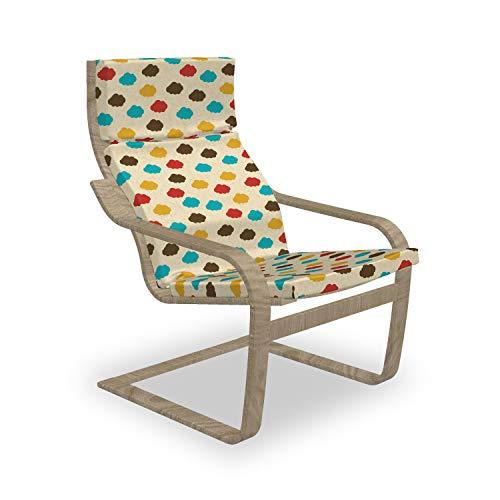 ABAKUHAUS Wolken Poäng Sessel Polster, Cumulus in Regenbogen-Farben, Sitzkissen mit Stuhlkissen mit Hakenschlaufe und Reißverschluss, Mehrfarbig