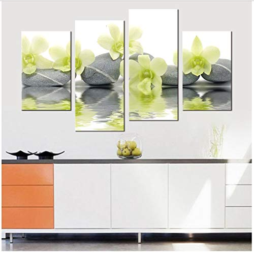 Pietra Orchidea Verde Chiaro Opere d'Arte Stampe su Tela Decorazioni per pareti Art Spa Massage Trattamento Pittura 30x60cmx2 30x80cmx2 Senza Cornice