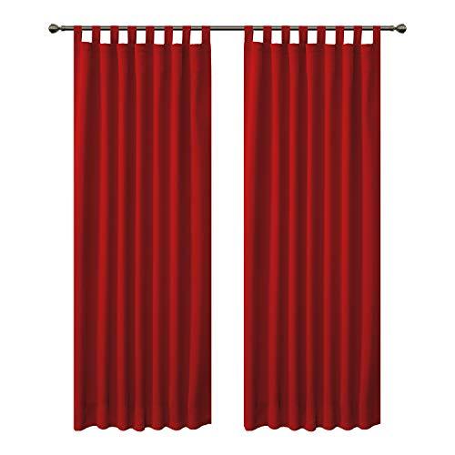 FLOWEROOM Blickdichte Vorhänge Verdunkelungsvorhänge mit Schlaufen für Schlafzimmer, 290x140cm (HxB), Rot - Thermogardine Gardinen/Lichtundurchlässige Vorhang Geräuschreduzierung, 2 Set