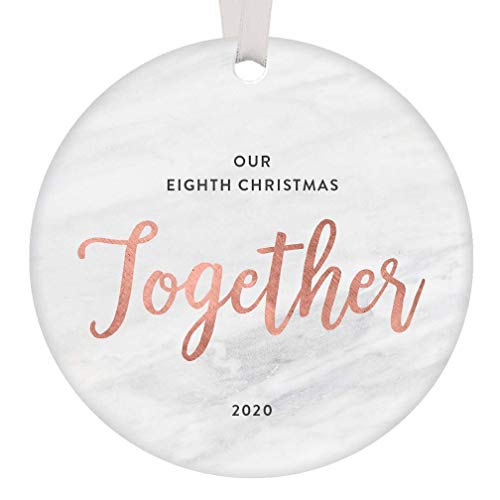 Lplpol 8th Anniversary 2020 Keepsake Christmas Ceramic Ornament Eight Years Married Husband Wife Mr & Mrs Gifts Together Forever Xmas Collectibles Stylish Holiday Decoration, Round, 3 Inch, RE1905