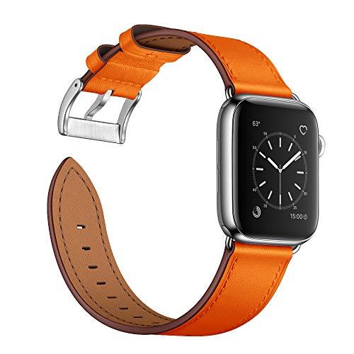 Arktis Lederarmband kompatibel mit Apple Watch (Series 1, Series 2, Series 3 mit 38 mm) (Series 4, Series 5 mit 40 mm) Wechselarmband [Echtleder] inkl. Adapter - Orange