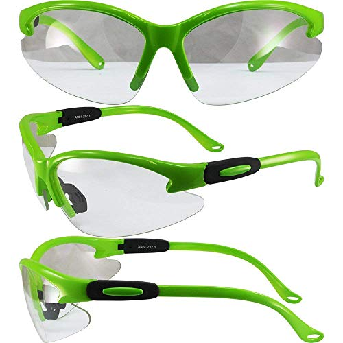 Moto Frames Cougar Neon Green Frame Lab Safety Glasses Clear Lens