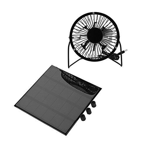 Mini ventilador USB, panel solar portátil de 3 W 6 V, para exteriores, kit de refrigeración, accesorio adecuado para viajes al aire libre, ciclismo