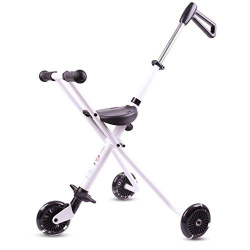 Kinder Dreirad Schiebe Baby Artefakt Einfache Kinder Trolley leicht gefaltet Leichtgewichtler Portable GAOLILI (Farbe : Weiß)