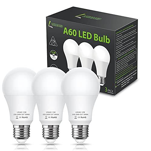 LOHAS E27 LED Lampe, 12W LED Lampe Ersatz für 100W Halogen, A60 Leuchtmittel, 3000K Warmweiß, 1100LM, Nicht Dimmbar, 240 Grad Beam Winkel, 220-240V AC, Energiesparende Glühbirnen, 3 Stück