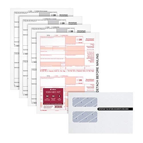 Adams 1099 NEC Forms 2020, 4 Part Laser/Inkjet 1099 Forms with Self Seal Envelopes, for 50 Recipients, Includes 3 1096 Forms (TX225504E-NEC20)
