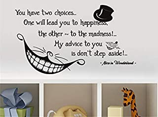 Edvoynlm Letters Wall Decor Stickers Alice in Wonderland Quote Wall Vinyl Decal Cheshire Cat Sticker Product Made in USA Smile Decal Wall Lettering for Home Bedroom Nursery Décor (16x29 inch)
