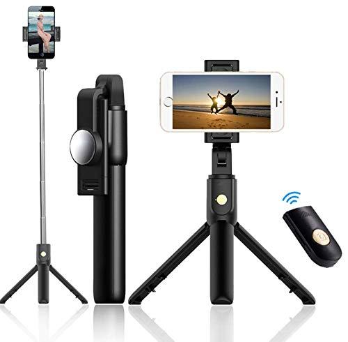Tripé para bastão de selfie, extensível bastão de selfie para Bluetooth com controle remoto sem fio