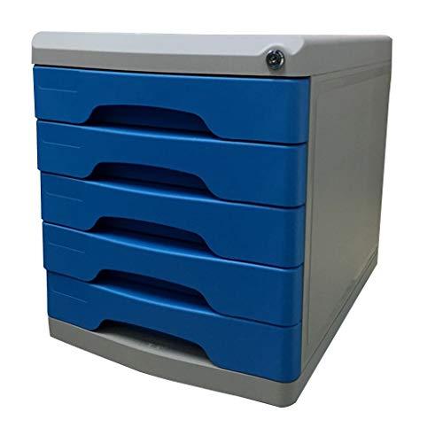 Ablagesysteme Schreibtisch ablagesystem 5 Schubladen mit Schloss Kunststoff Aktenschrank - Multicolor 26,9 * 36 * 30,9 cm Bürobedarf Schreibwaren (Color : Gray)