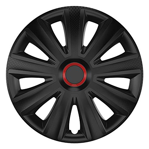 Cm Diseño Aviator Carbon Black RR–15Pulgadas, Apta para Casi Todas Las Fiat, por Ejemplo para Fiat Grande Punto EVO Tipo 199