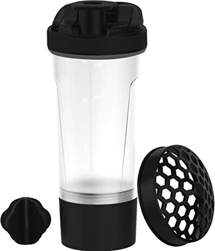 KICHLY (Set of 2) Classic Protein Shaker Bottle (700 ml) with Protein Shaker Ball - Non-Leak Cap with Shaker Cups for Protein Shakes or Supplement – Perfect Fitness & Workout Partner (Black & Clear)