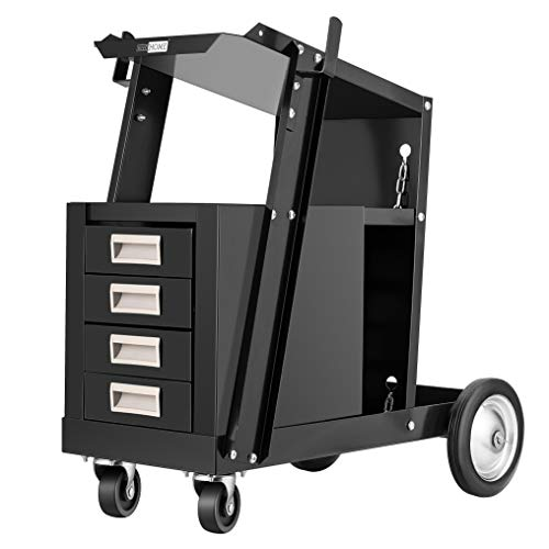 VIVOHOME Iron Rolling Welding Cart with 4 Drawers Wheels and Tank Storage for TIG MIG Welder and...