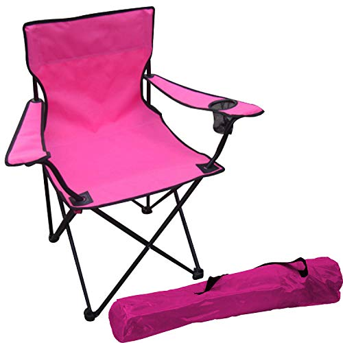 FineHome Anglerstuhl Anglersessel Campingstuhl Faltstuhl Regiestuhl inkl. Getränkehalter und Tasche in Pink