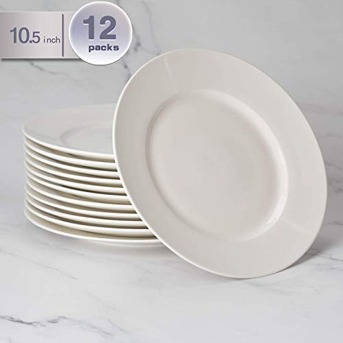 amHomel 12-Pack 10.5 inch Perdurable Porcelain Dinner Plates, High Temperature Natural White Dinnerware Dish for Dinner and Salad, Restaurant, Family Party and Kitchen Use