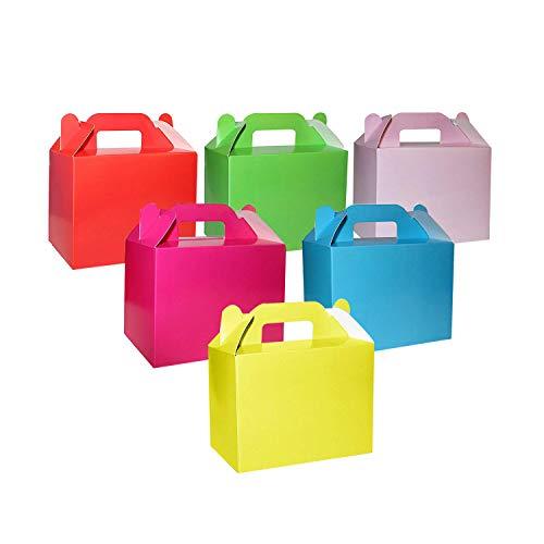 BELLE VOUS Cajas para Dulces Coloridas para Fiestas (Pack de 24) 14 x 6 x 11 cm – Cajitas Regalo Lisas Brillantes Arcoíris para Cumpleaños de Niños y Niñas, Baby Shower y Bodas - Cajas para Chuches