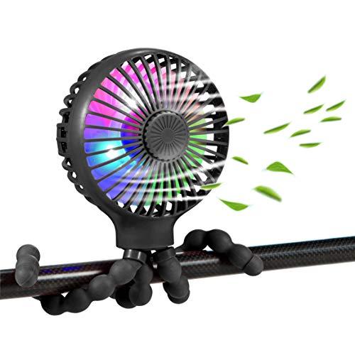 scurry Stroller Fan Upgraded Portable Fan Versatile Fan Personal Desk Fan USB Rechargeable Fan with LED Light and Aromatherapy Flexible Tripod Design Handheld Fan 3 Speeds Baby Fan for Stroller(Black)