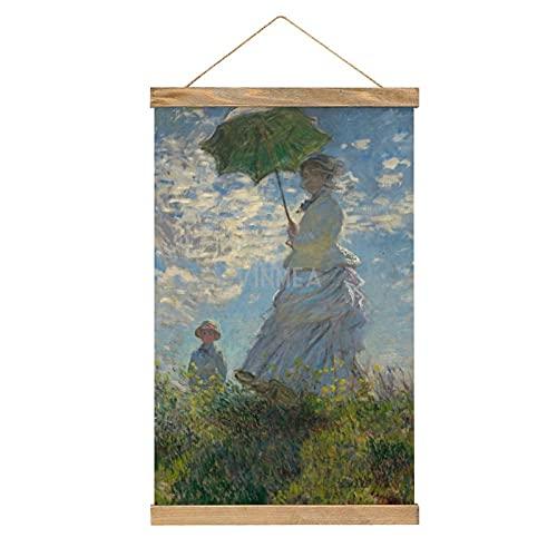 VinMea Póster colgante colorido de la pared de la pintura de mujer con un sombrilla, señora Monet y su hijo enmarcado de madera carteles para colgar kit para paredes, lienzo de 13 x 50 cm