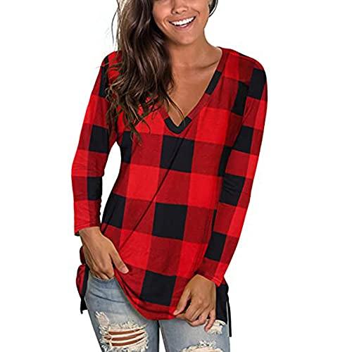neiabodos Elegante blusa de manga larga a cuadros con cuello en V para mujer, rojo, S