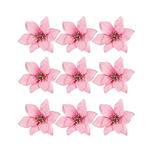 STOBOK 13cm Glitzer Kunstblumen Christbaumschmuck Weihnachts Hochzeits Dekoration Blumen Rosa 24 Stück