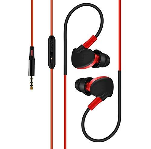 Sport-hoofdtelefoon voor Apple iPhone X, met microfoon en volumeregelaar, handsfree inrichting, universele klinkstekker, rood