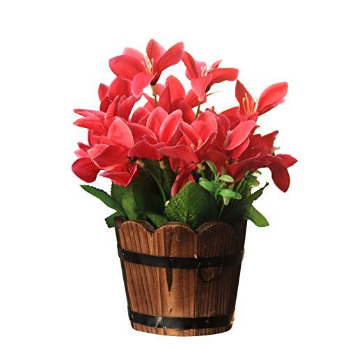 Flikool Flores Artificiales de Seda con Barril de Madera Falsas Narcisos con Jarrón Flor de Lirio Plantas Artificiales en Maceta Bonsai Verdes para Balcón Interior Hogar Oficina Decoración - Rose