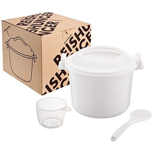 REISHUNGER Mikrowellen Reiskocher (1,2 l), einfach und schnell Reis kochen - ideal auch für Quinoa, Couscous, Kartoffeln – Ohne Weichmacher