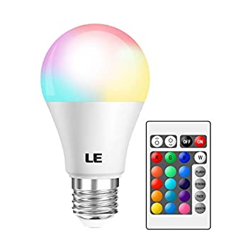 LE RGB Color Changing Light Bulbs with Remote Dimmable 40 Watt Equivalent Warm White A19 E26 Screw Base for Home Decor Bedroom Stage Party and More