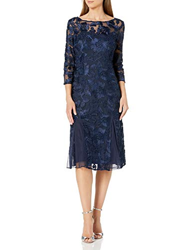 Alex Evenings Women's Tea Length Embroidered Dress with Illusion Sleeves, Navy, 12
