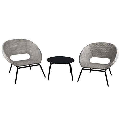 Oren Singapore Rattan Bistro Lounge Set - Grey Flat Weave