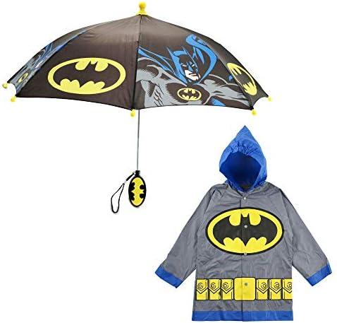 DC Comics Little Kids Umbrella and Lightweight Rain Slicker Set for Boys Ages 4 7 Grey Batman product image