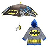 DC Comics Little Kids Umbrella and Lightweight Rain Slicker Set for Boys Ages 4-7, Grey Batman, Age 4-5