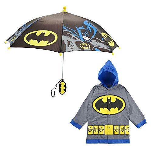 DC Comics Little Kids Umbrella and Lightweight Rain Slicker Set for Boys Ages 4-7, Grey Batman, Age 6-7