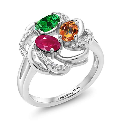 Gem Stone King 925 Sterling Silver Promise Customized and Personalized Build Your Own 3 Birthstone For Her Women's Engagement Flower Blossom Ring (Size 7)