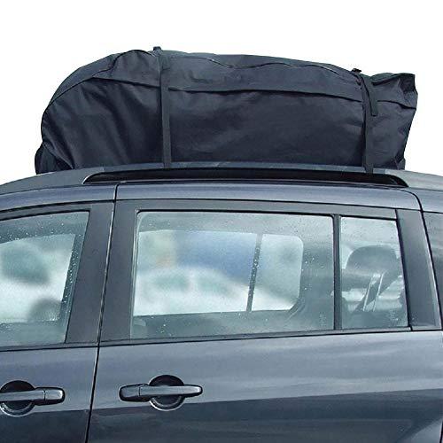 Seasaleshop Dakkoffer voor de auto, opvouwbare dakkoffer, waterdicht, daktas, dakbagagedragertas, 15 kubieke voet, ideaal voor reizen en bagagetransport, zwart