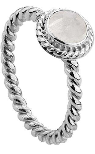 Nenalina Damen Ring Silberring besetzt mit 6 mm weißem Mondstein Edelstein, handgearbeitet aus 925 Sterling Silber, Gr. 56-212999-004-56