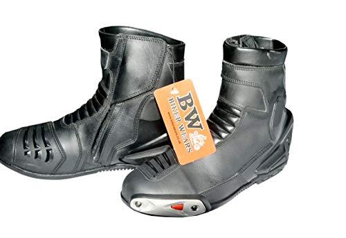 Stivali da motociclista da uomo in pelle nera impermeabile da corsa Touring scarpe nere da moto da equitazione
