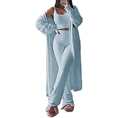 ZHENN Conjunto de pijama para mujer, forro polar suave y abierto, 3 piezas, pantalón de chándal de piernas anchas, ropa sexy y abrigada para mujer, color azul, 3 piezas, L