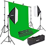 """Emart Green Screen Kit, Photography Continuous Lighting and Collapsible Backdrop Stand Set, Background Support System with 24"""" x 24"""" Softbox Light for Photo Video Studio Shoot Recording"""