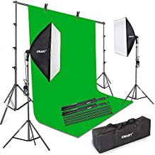 Emart Green Screen Kit, Photography Continuous Lighting and Collapsible Backdrop Stand Set, Background Support System with 24