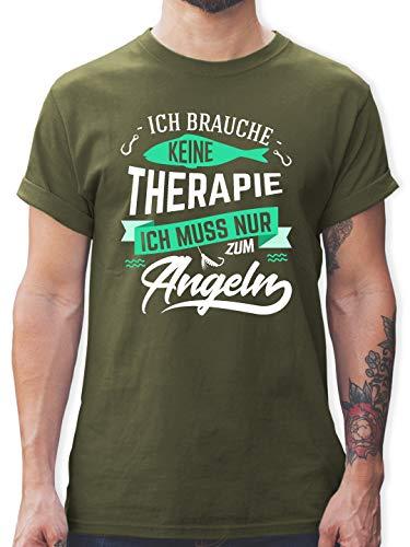 Angeln - Ich Brauche Keine Therapie Angeln - XXL - Army Grün - L190 - Tshirt Herren und Männer T-Shirts